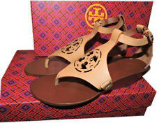 Tory Burch ZOEY Sandal Cut Out Leather Logo Shoe aWedge Ankle Strap Shoe Sz 7