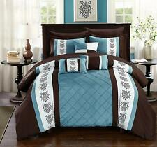 Chic Home Clayton 10 Comforter Pintuck Pieced Block Embroidery Bed In A Bag With