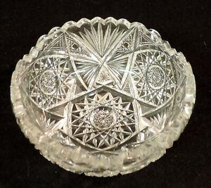 Vintage American Brilliant Cut glass 5in bowl diamond pattern