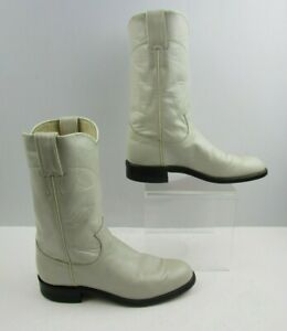 Ladies Justin White-Ivory Leather Roper Western Cowgirl Boots Size : 5.5 C *WIDE