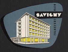 Hotel Koffer Etikett / luggage label - Hotel Savigny Frankfurt Main Germany