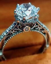 2.00Ct White Sapphire Diamond Floral Ring Engagement Wedding Ring 14K White Gold
