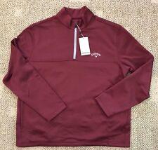 Callaway Mens M Medium 1/2 Zip Golf Shirt Top Tawny Port Optic-Shield Upf 50