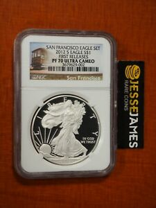 2012 S PROOF SILVER EAGLE NGC PF70 ULTRA CAMEO FR FROM SAN FRANCISCO SET TROLLY