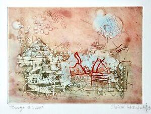Shoichi Hasegawa (geb. 1929) signierte Farbradierung, abstrakte Komposition