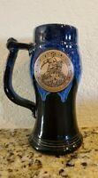Renaissance Mug Cup Beer Stein Blue Glazed Pottery Merlin Wizard 1998 Vintage