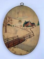 PAM SIGNED NAIVE FOLK ART PAINTING OVAL WOOD SLAB COUNTRY CABIN SNOW LANDSCAPE