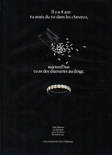 Publicité 1991 Alliance en diamant bague bijoux joaillier collection mariage ...