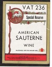 1940s NEW YORK CITY Fruit Products VAT 236 SAUTERNE WINE Label