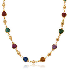 Colorful Heart Enamel Beads Chain Necklace Gold Plated Jewelry Christmas Gift