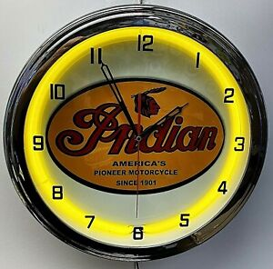 "16"" INDIAN Motorcycle Since 1901 Old Sign Yellow Neon Clock"