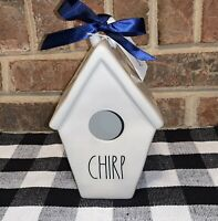 """NEW Rae Dunn By Magenta Ceramic """"CHIRP"""" Slant Roof 2 Sided Birdhouse"""