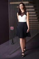 Karen Millen Colour Block Sheer Flare Pleated Skirt Skater Party Dress UK 10 38