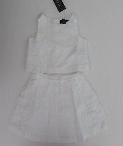 NWT Ralph Lauren White Eyelet Lace Sleeveless Top Skirt Dress Set Sz 3t $90 NEW