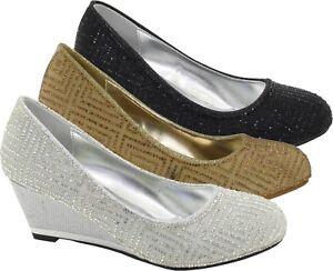 New Women Mid Wedge Heel Wedding/Party Formal Shoes UK Size 3-9