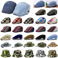 Men Fashion Denim Checks Plaid Peaked Ivy Cap Golf Driver Flat Cabbie Beret Hat