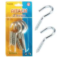 """4 x Screw Open Eye Large Hooks Heavy Duty Nails Steel Metal Thread 5"""" Hook DIY"""