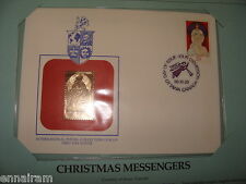 Canada FDC w/ 23 kt gold replica Stamp 1986 Christmas Messengers