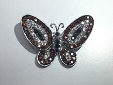 14k White Gold White Diamond Black And Champagne Diamond Butterfly Pendant