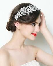 "NEW- Flowers w/ crystals long metal rhinestone hair comb -Wedding/Bridal-""Flora"""