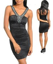 Sz 8 10 Black Sleeveless Party Cocktail Formal Bodycon Prom Chic Slim Fit Dress