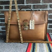 REEDERANG VINTAGE 1980s BRITISH TAN BELTING LEATHER MACBOOK BRIEFCASE BAG R$1198