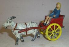 Charbens Vintage Lead Rare Prewar Farm Or Village Girl In Goat Cart Set - 1930'S