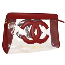 Auth CHANEL Jumbo CC Clutch Hand Bag Red Clear Vinyl Leather Vintage JT06923