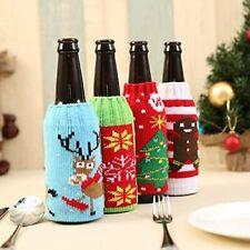 4 Pack of Santa, Reindeer, Tree, Bread Man Beer Bottle Covers for Christmas Wine
