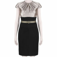Monique Lhuillier Elegant Black Blush Pink Tailored Slim Fit Dress US4 UK8
