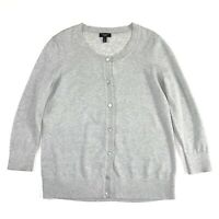 Talbots Womens Sweater Light Grey Silver Metallic Button Down Cardigan  Size SP