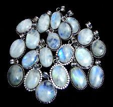 Rainbow Moonstone Gemstone 5pcs Pendant .925 Silver Plated