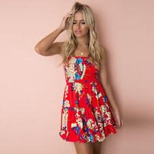 UK Womens Strapless Floral Ruffle Sundress Ladies Summer Beach Mini Swing Dress #3 6