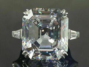 Elizabeth Taylor inspired 35 Ct White Asscher Cut Diamond Engagement Silver Ring