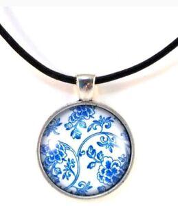 Glass Pendant - Little Blue Flowers 25mm cabochon on black necklace JoMacDesigns