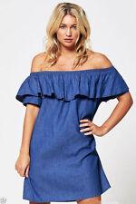 new ladies denim jeans blue frill off shoulder bardot summer tunic dress 8-18