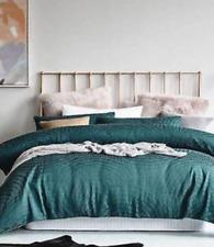 Mercer + Reid Linden Green Double Bed Quilt Cover + 2 Std P/case BNIB - RRP $279