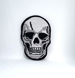 Gray Skull Teeth Vintage Retro Halloween Iron Sew On Embroidered Patch
