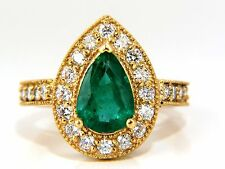 2.47ct Natural Pear Brilliant Emerald diamond ring 14kt G/Vs classic halo bead+