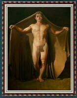 "Hand-painted Original Oil painting Portrait art male nude boy on Canvas 24""X36"""
