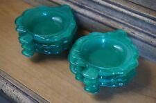 Vintage green depression glass spade nut dish - set of 6