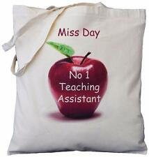 PERSONALISED - NO 1 TEACHING ASSISTANT - APPLE DESIGN - COTTON BAG gift