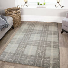 Contemporary Gray Tartan Checked Silver Geometric Quality Low Cost Area Rugs