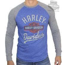 Harley-Davidson Mens Trademark B&S Blue Long Sleeve Jersey Raglan T-Shirt