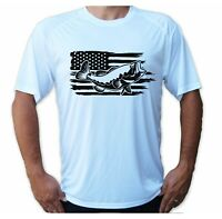 American Flag Bass Fish UPF 50 T-Shirt Fishing Sport Boat Sun UV Protection