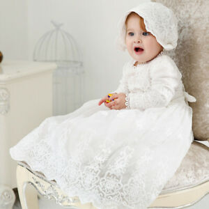 Luxury Embroidery Lace Sleeve Christening Gown Baby Girl Baptism Dress with Hat
