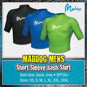 MADDOG Mens Short Sleeve Rash Top Rashie Shirt Surfing Scuba Diving Swim Adults