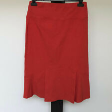 'THE ARK' EC SIZE 'L' ORANGE STRETCH SKIRT WITH WIDE WAISTBAND & LOWER PLEAT