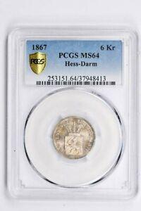 1867 Germany 6 Kreuzer PCGS MS 64, Hess-Darm Witter Coin
