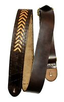 Leather Guitar Strap Acoustic Electric Adjustable Bass Guitar Strap Brown